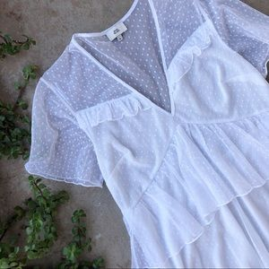River Island White Lace Tiered Mesh Tiered Dress